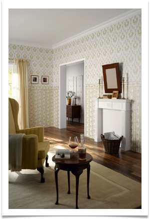 turn of the century study, fireplace, wingback chair, side table, focus on wallpaper design